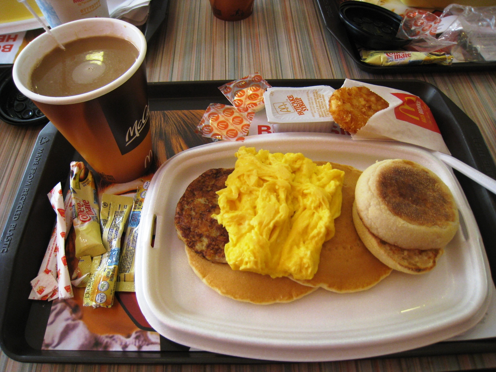 Mcdonald's big breakfast bacon sausage scrambled with hotcakes and muffin