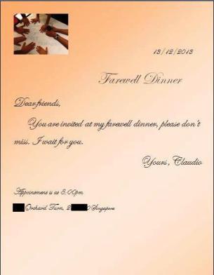 Claudio Farewell - Invitation