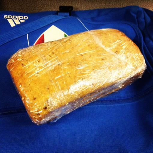 An All-American healthy bread on top of my Italia bag.  This was such a welcome sight!