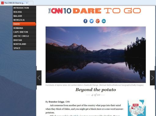 """The CNN 10 Dare To Go"" has Idaho on its list!  I have to say, I've ticked this one off!"