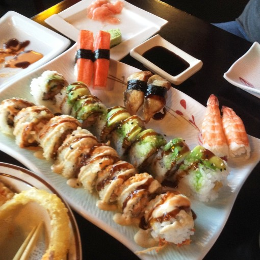 This is how the FIRST sushi platter would look like.  Then a seeming endless flow would emanate from the general direction of the sushi chefs.  Haha!