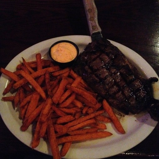 My first plate of steak and SWEET POTATO fries at Legend's.