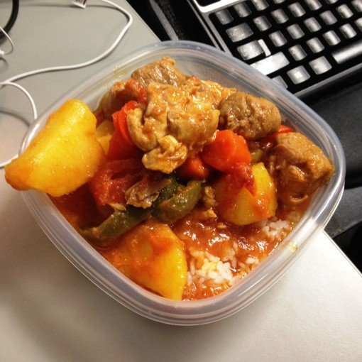 I did bring my very Filipino Chicken/Pork Afritada to the office for #BBF Steele.