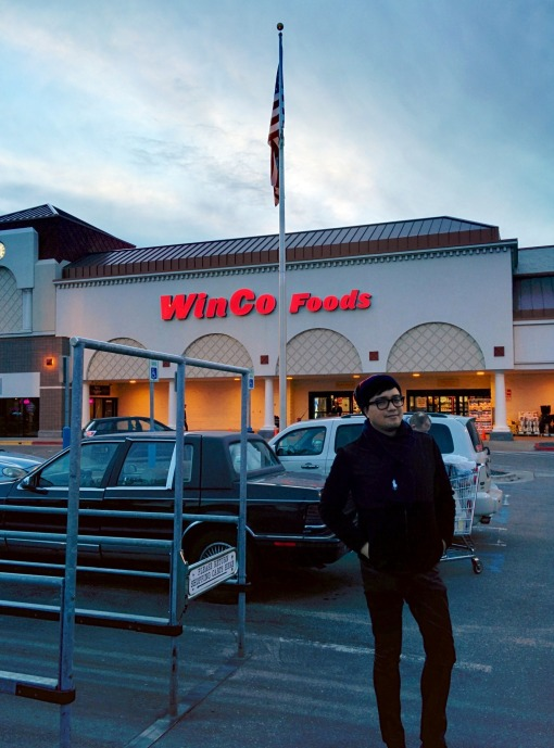 I love grocery shopping so much that I would often have my photo taken in front of WinCo, among others.  All the time I would wish that a breeze would make those broad stripes and bright stars wave.