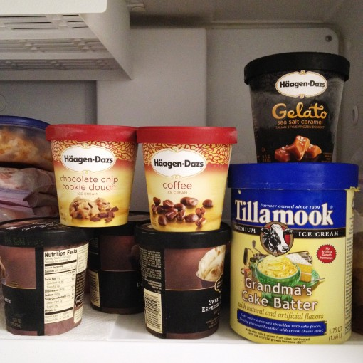 Gelato reigns supreme over ice cream.  Well, sometimes.  Haha!  As you can see, there is real space devoted to frozen delights in my freezer.