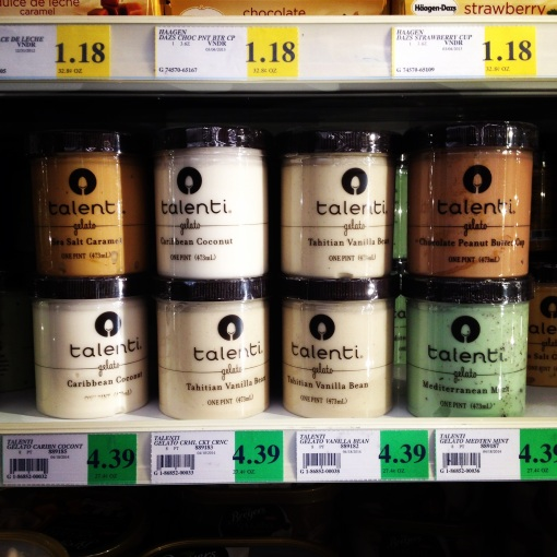 Talenti Gelato comes in a number of really scrumptious flavors.  And for just $ 4.39 a pint at WinCo.