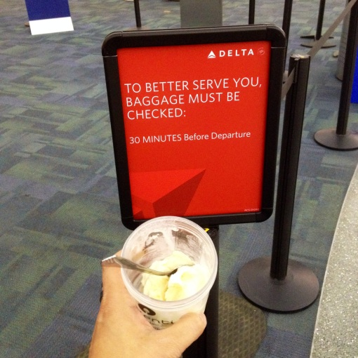 I intentionally set aside half of the pint Chase gave me.  On my actual last day in Boise, I savored this amazing homemade Vanilla Bean Ice Cream while waiting in line at the DELTA counter at Boise Airport.  I think it was the best edible item to cap a most amazing 120 days in the City of Trees.