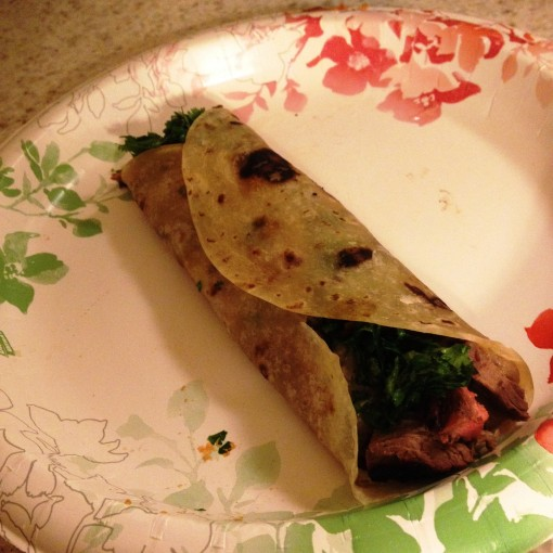 The flour tortilla was also homemade!