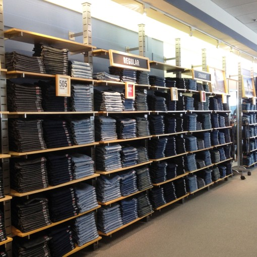 A wall of denim is always a good thing.
