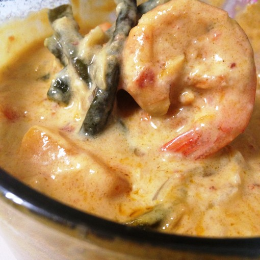 """I finished about five cups of piping hot steamed white rice with Arvin Daguro's wife Lea's """"ginataang hipon.""""  (Shrimps in coconut milk)"""