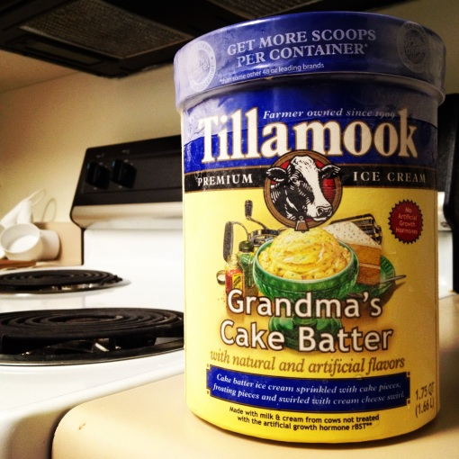 Tillamook's Grandma's Cake Batter is so good I could finish this whole 1.75QT tub in one sitting.  And on one occasion, I did.