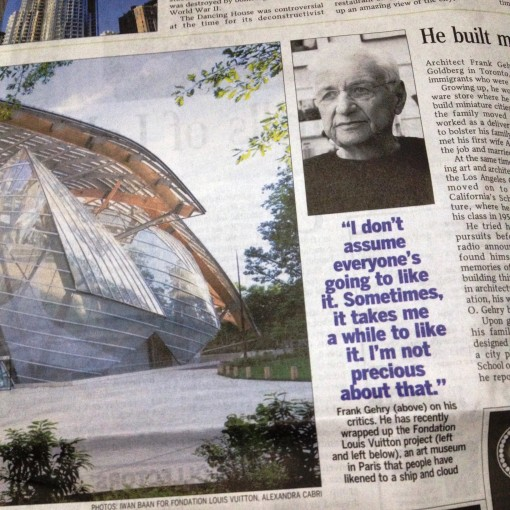 One of Frank Gehry's more recent projects is for Louis Vuitton!