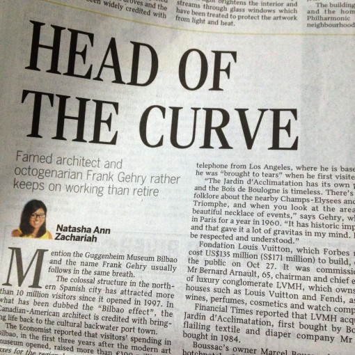 "A recent feature on Singapore's The Straits Times, ""HEAD OF THE CURVE"" by Natasha Ann Zachariah brought Frank Gehry – and the wrist watch he designed for FOSSIL – back to mind."