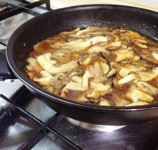 """""""Once the sauté comes back to a sizzle, stir the whole thing to mix everything up.  At this point, add the magic ingredient – really good oyster sauce."""""""