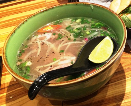 """They can try but they can't take noodles away from me.  Haha!  This is NamNam Noodle Bar's """"Phở Beef Steak Slices"""" (S$ 8.90)."""