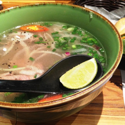 """The """"Phở Beef Steak Slices"""" bowl makes it to the table!  The beef steak slices are medium rare as promised!"""