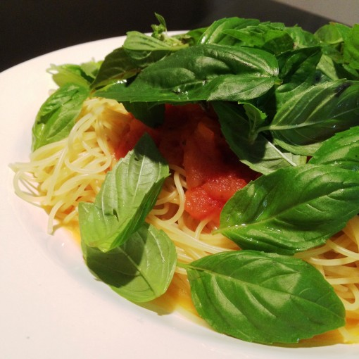Having the basil still bright green adds to the enjoyment of having this angel hair pomodoro.