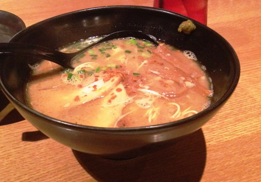 "My chosen ""featured"" ramen, calm and collected, just right before I wreaked havoc onto it."