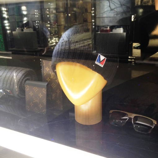 A beanie by Louis Vuitton.  I love how the Louis Vuitton logo is composed of the colors of the Philippine flag.