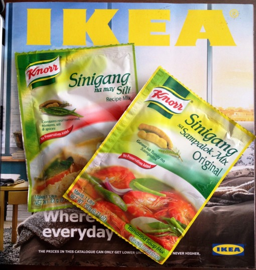"As a kid and as my mother's kitchen apprentice, I used to prepare the sour broth using fresh tamarind that had to be boiled, mashed, and strained.    I call these the convenience of modern times:  KNORR® ""Sinigang sa Sampalok"" Mix Original (20 g), and ""Sinigang na may Sili"" Recipe Mix (22 g)."