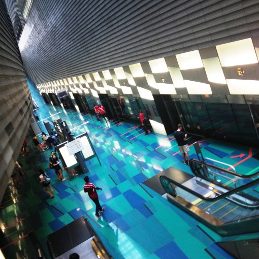 From the water to dry land.  I find that the Stadium MRT station is one of the picturesque !  I love the play of blue hues.