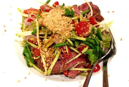 Asia is represented in sporadic scatterings on the menu.  This Thai Beef Salad is redolent with the whiff of lemongrass and sweet basil, perfectly perfuming perfectly medium rare meat.